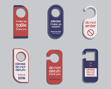 door knob: Brand identity elements- Door knob or hanger sign set- do not disturb design. Corporate branding. France 2016 Football. The national colors of France design. Isolated on bright background. Vector