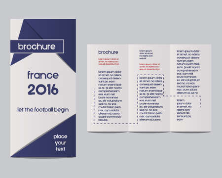France 2016 Football. Brochure Flyer design Layout template with infographic elements. The national colors of France. Isolated on bright background. Triangle abstract style. Vector illustration Vector