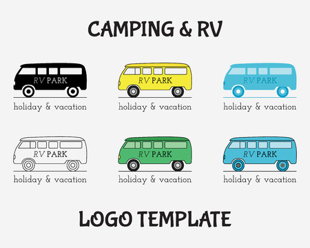 motor home: Outdoor Activity Travel icon Vintage Labels design template. RV, forest holiday park, caravan motor home. Camping Badges Retro style icontype concept icons set. Vector illustration