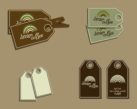 brand identity: Set of coffee brand identity labels - stickers for cafe bar, farm products. Ecology theme. Green eco design. Vector illustration Illustration