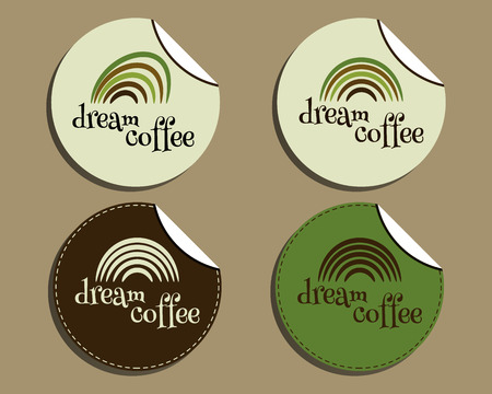 brand identity: Set of unusual brand identity - dream coffee labels - stickers for cafe, restaurant. With Green coffee, dream rainbow icon design. Vector illustration Illustration