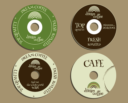 brand identity: Brand identity elements - CD, DVD templates. sign, icon. Compact, disc, symbol. For cafe, restaurant and other food business. Corporate branding. With Green coffee, dream rainbow icon design. Vector illustration Illustration