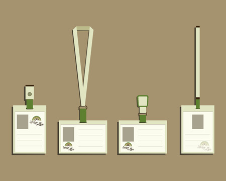 Brand identity elements - Lanyard, name tag holder and badge templates. For cafe, restaurant and other food business. Corporate branding. With Green coffee, dream rainbow icon design. Vector illustration