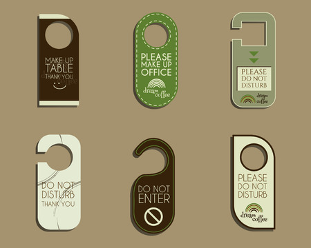 brand identity: Brand identity elements- Door knob or hanger sign set- do not disturb design. For cafe, restaurant and other food business. Corporate branding. With Green coffee, dream rainbow icon design. Vector illustration Illustration