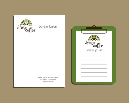 a5: Professional Corporate Identity kit or business kit. A4 and A5 size. With Green coffee icon design. Best for cafe, restaurant and other food business. Letter Head Design. Vector illustration