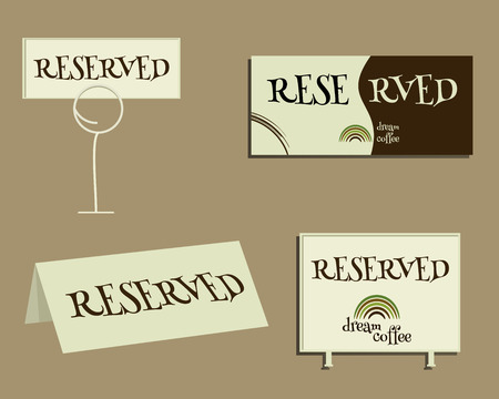 reservation: Reservation sign. With Green coffee icon design and coffee stains. Best for cafe, restaurant and other food business. Vector illustration