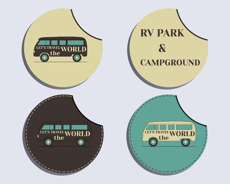 campground: Set of unusual labels - stickers. Travel and Camping brand identity labels - stickers. Rv park and campground. Retro and Vintage colors design. Isolated on bright background. Vector illustration Illustration