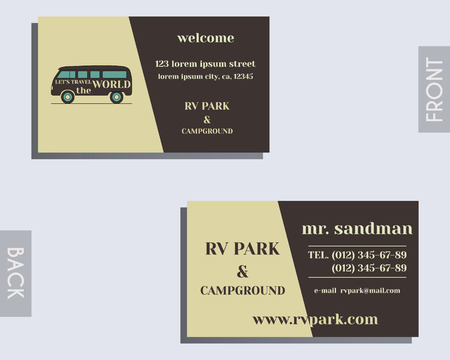 visiting card design: Travel and Camping visiting card design Layout template. Rv park and campground. Triangle abstract style. Retro and Vintage colors design. With rv logo. Isolated on bright background. Vector illustration