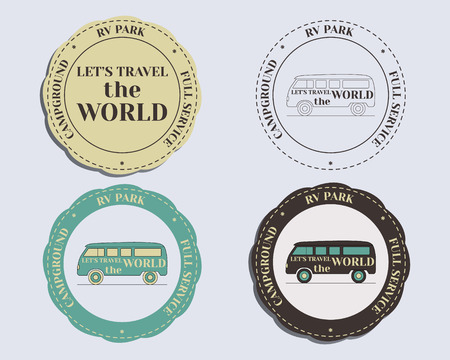 campground: Brand identity elements - logo templates and badges. Rv park and campground. Retro and Vintage colors design. Isolated on bright background. Vector illustration Illustration