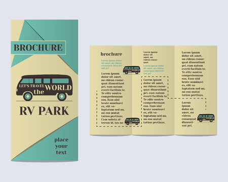 campground: Travel and Camping Brochure Flyer design Layout template. Rv park and campground with infographic elements. Retro and Vintage colors design. Isolated on bright background. Vector illustration Illustration
