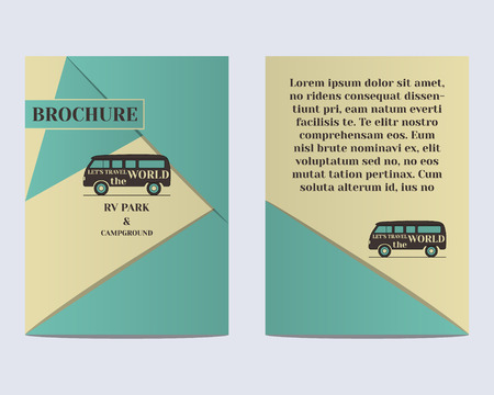 campground: Travel Brochure Flyer design Layout template. Rv park and campground. Retro and Vintage colors design. Isolated on bright background. Vector illustration Illustration