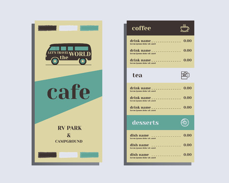 campground: Restaurant and cafe menu. Flat design. Rv park and campground. Retro and Vintage colors design. Isolated on bright background. Vector illustration Illustration