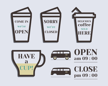 rv: Coffee signs. Open and Closed elements. Rv park and campground. Retro and Vintage colors design. Isolated on bright background. Vector illustration Illustration