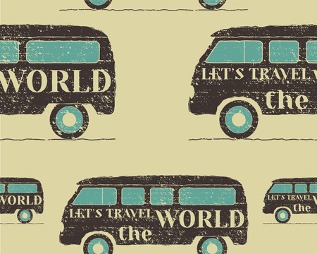 rv: Vintage Seamless pattern camping. Retro Rv and motor home design. Travel theme. Vector illustration