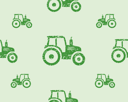 cartoon tractor: Natural products seamless pattern, farm fresh, eco design. Green tractor. Vector illustration