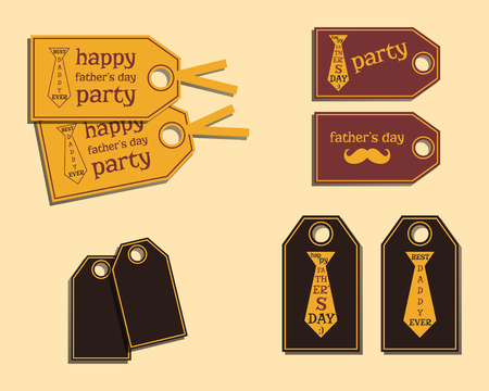 fatherhood: Happy Fathers Day stickers template with mustache and tie. Best for thematic party. Isolated on bright background. Vector illustration Illustration