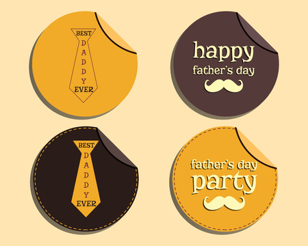fatherhood: Happy Fathers Day label and sticker template with mustache and tie. Best for thematic party. Isolated on bright background. Vector illustration
