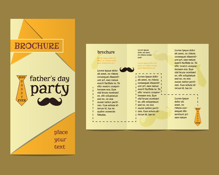 fatherhood: Happy Fathers Day flyer and brochure template with mustache and tie elements Best for thematic party. Isolated on bright background. Vector illustration