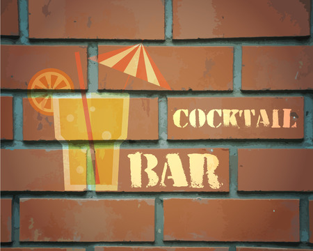 bar lounge: Retro poster design for cocktail lounge bar. Cocktail party concept. Vintage design for bar or restaurant. Food and drink concept. Vector illustration