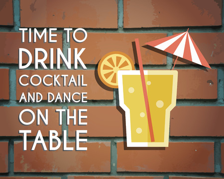 bar lounge: Retro poster design for cocktail lounge bar. Cocktail party concept with keywords sign. Vintage design for bar or restaurant. Food and drink concept. Vector illustration