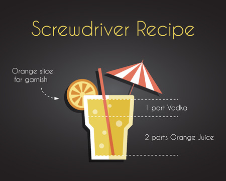 recipe background: Screw driver cocktail drink recipe vector concept in trendy retro flat design style, with orange, isolated on black background. Illustration Illustration