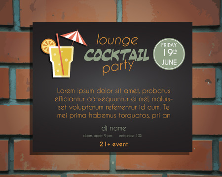 bar lounge: Lounge cocktail party poster invitation template with Screw driver cocktail. Vintage design for bar or restaurant. Isolated on brick wall background. Vector illustration