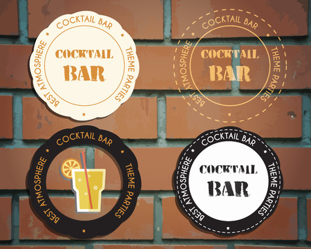 bar lounge: Lounge cocktail party badges and logo templates with Screw driver cocktail. Vintage design for bar or restaurant. Isolated on brick wall background. Vector illustration Illustration