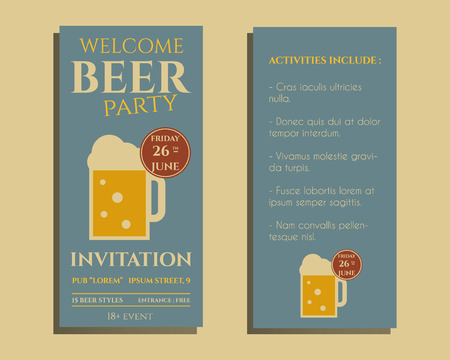 tumbler: Beer party flyer invitation template with glass of beer. Vintage design for club, pub or night beer party. Isolated on retro color background. Vector illustration