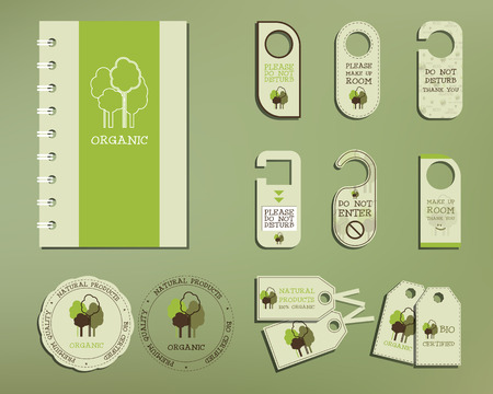 Green and organic corporate identity set template with tree elements. Vector company style for brandbook and guideline. Badges, logo, stickers and labels. Illustration Vector