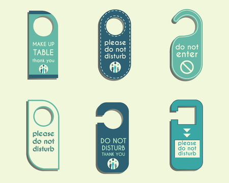 to disturb: Brand identity elements- Door knob or hanger sign set- do not disturb design. Corporate branding. Save water conference. Eco theme. Vector illustration Illustration