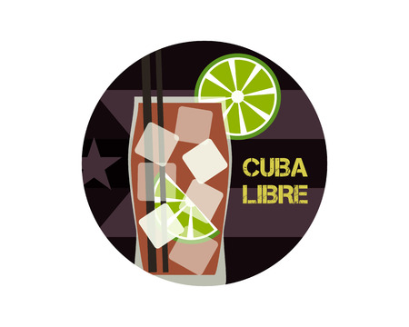 another way: Cuba Libre cocktail. Can be used as icon, illustration or another way. Modern design. On stylish Cuba flag background. Vector illustration