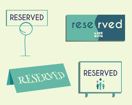reservation: Reservation sign mock up template. Save water conference. Eco theme. Isolated on bright background. Vector illustration.