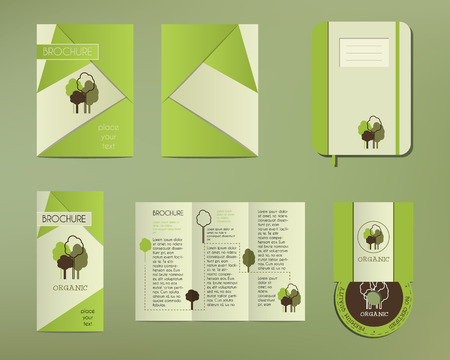 guideline: Green and organic corporate identity set template with tree elements. Vector company style for brandbook and guideline. Brochure, cd, notebook. Illustration Illustration