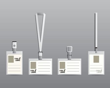 lanyard: Elementos de identidad Marca - cuerda de seguridad, titular del nombre de la etiqueta y las plantillas de insignia. Verano c�ctel con c�ctel Cuba Libre. Dise�o de hielo fresco y moderno. Aislado en el fondo gris. Ilustraci�n vectorial