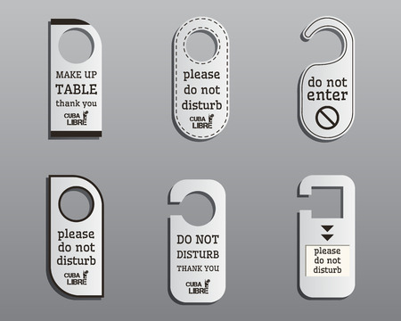 door knob: Brand identity elements- Door knob or hanger sign set- do not disturb design. Summer cocktail party with Cuba Libre cocktail. Fresh Modern ice design. Isolated on grey background. Vector illustration