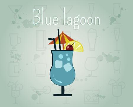 blue lagoon: Blue Lagoon Cocktail. Summer stylish design. Isolated on unusual Background. Vector illustration