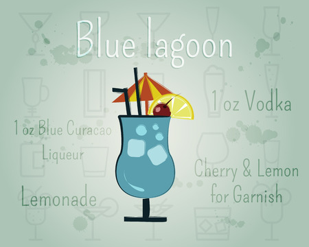 blue lagoon: Blue Lagoon Cocktail banner and poster template with ingredients. Summer stylish design. Isolated on unusual Background. Vector illustration
