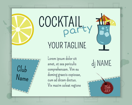 Summer cocktail party poster and banner layout template with blue lagoon cocktail, lemon and cherry elements. Fresh Modern design for cocktail bar. Isolated on unusual background. Vector illustration Stok Fotoğraf - 41179419