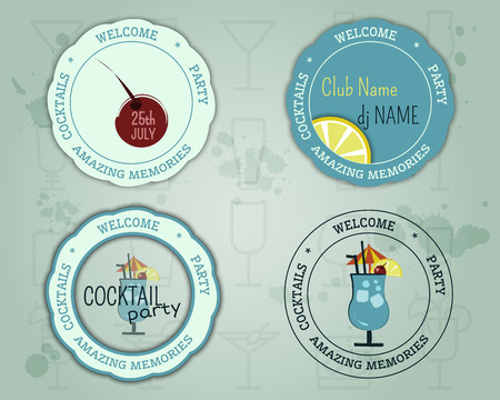 blue lagoon: Summer cocktail party badge and logo layout template with blue lagoon cocktail, lemon and cherry elements. Fresh Modern ice design for cocktail bar. Isolated on unusual background. Vector illustration Illustration