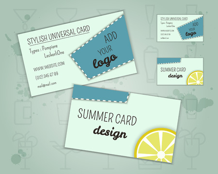 blue lagoon: Summer cocktail party business card layout template with blue lagoon cocktail, lemon and cherry elements. Fresh Modern ice design for cocktail bar. Isolated on unusual background. Vector illustration