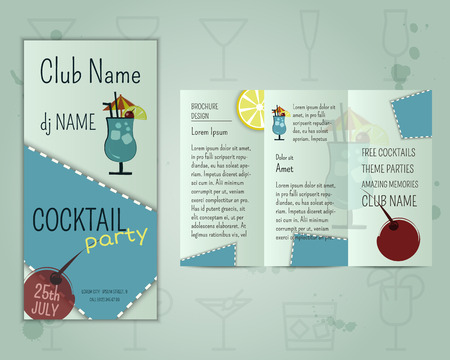 blue lagoon: Summer cocktail party flyer layout template with blue lagoon cocktail and infographic elements.