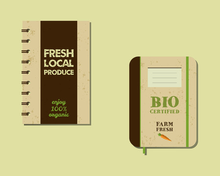 fairs: Stylish Farm Fresh brand book, notebook templates. Organic, eco. Mock up design. Retro colors. Best for natural shop, organic fairs, eco markets and local companies. Vector illustration