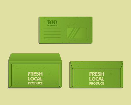 sides: Brand identity template. Envelope. Front, back sides and open. With organic, farm fresh, eco keywords. Green and ecology design. Best for natural products company, shop. Vector illustration Illustration