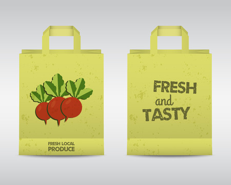 fairs: Stylish Farm Fresh paper bags template. Mock up design with shadow. Vintage colors. Best for natural shop, organic fairs, eco markets and local companies. Vector illustration