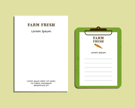 fairs: Professional Corporate Identity kit or business kit. A4 and A5 size. With organic farm fresh logo template brand. Best for natural product companies, eco fairs. Letter Head Design. Vector illustration Illustration