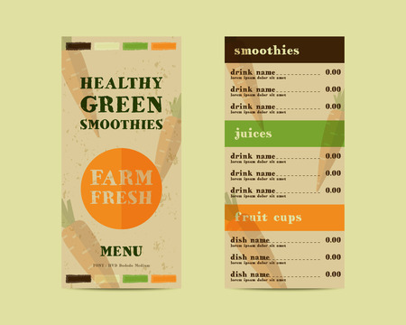 Vegetable smoothie menu vector concept. Fresh elements for cafe or restaurant with energetic fresh drink made in flat style. Fresh juice for healthy life. Organic raw shake.  Illustration