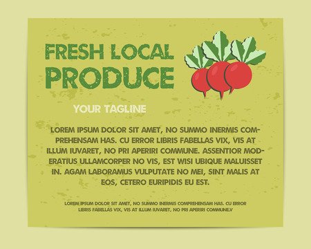 fairs: Summer Farm Fresh poster, template or brochure design with radish. Mock up design with shadow. Best for natural shop, organic fairs, eco markets and local companies. Vector illustration