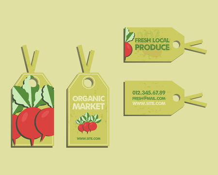 fairs: Summer Farm Fresh sticker, template or brochure design with radish. Mock up design with shadow. Best for natural shop, organic fairs, eco markets and local companies. Vector illustration Illustration