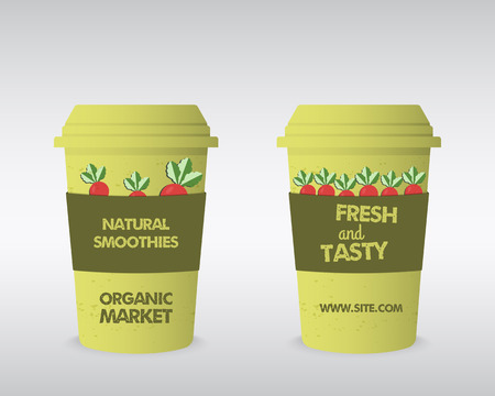 fairs: Summer Farm Fresh cup template. Stylish Mock up design with shadow. Best for natural shop, organic fairs, eco markets and local companies. Can be used on sites or mobile app. Vector illustration
