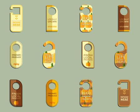 fairs: Stylish Farm Fresh brand door badge, sticker templates set. Organic, eco. Mock up design. Orange colors. Best for natural shop, organic fairs, eco markets and local companies. Vector illustration Illustration